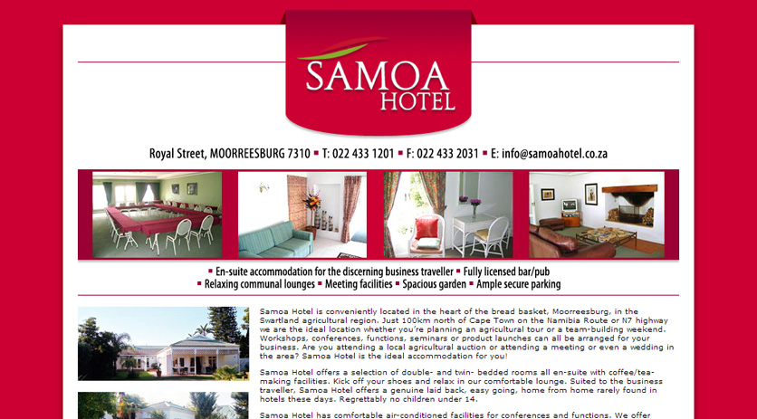 Samoa Hotel Website Design