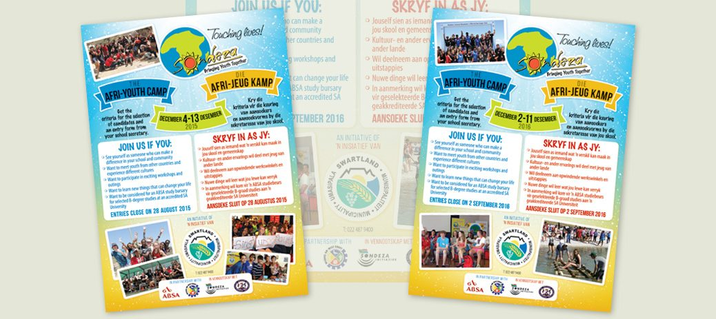 a5 flyer design for sondeza afri youth camp affordable